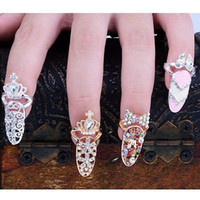 Wholesale Nail Art Alloy Gold - Colorful Crown Crystal Finger Nail Art Ring Jewelry Nail Finger knuckle Rings tail ring Butterfly knot crown protect nail alloy Accessory