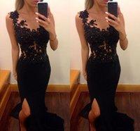 Wholesale Elaborate Dresses - Best Selling Black Mermaid Prom Dresses Elaborate Lace Appliques Beaded Split Prom Dresses Sheer Neck Skirt Train Taffeta Prom Dresses 2015