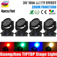 Wholesale Theater Lighting Night Lights - Wholesale-TIPTOP Stage Light 4pcs lot 36*10W Zoom Led Moving Head Light 14DMX Channel wash Freeshipping for theater disco ktv night club