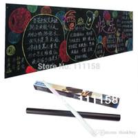 Wholesale Mini Chalk Boards - 100 PCS 45*200CM Removable Vinyl Chalkboard Wall Stickers, Mini PVC Blackboard Black Chalk Board Sticker With Retail Packaging 0419xx