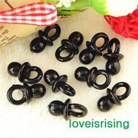 Wholesale Baby Shower Charm - Free shipping--500pcs Mini Acrylic Solid Black Baby Pacifier Baby Shower Favors~Cute Charms ~cupcake decorating