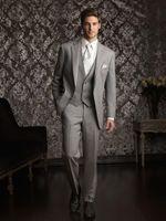 Wholesale Mens Tan Vests - Tan Groom Tuxedos Notched Lapel Two Buttons 3 Piece Mens Wedding Suits Bridegroom Business Party Best Man Formal Wear(Jacket+Vest+Pants)