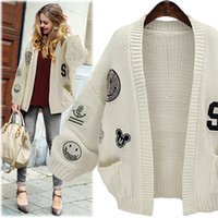 Wholesale Cardigan Sweaters Large Women - Amy 2015 Europe And America New Large Size Women Winter Thick Long Sleeved Knit Cardigan Sweater Coat