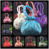 Wholesale cheap satin fabric wholesale - Cheap Embroidered Fruit Large Coin Purse Handles Drawstring Satin Fabric Christmas Gift Packing Bag Wedding Birthday Party Storage Pouch
