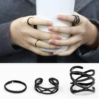 Atacado- Best Seller Brand 3Pcs Mulheres Punk Black Stack Plain Above Knuckle Ring Midi Finger Tip Rings Set 9I2O