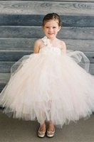 Wholesale Artificial Flower Girl Ball - Wedding Girls Princess Dress for Flower Girls Ball Gowns Cupcake Criss Cross Straps Artificial Flowers Ankle Length Flower Girls Dresses