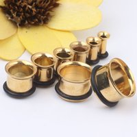 Wholesale Ear O Rings - Gold single flare with O ring ear plugs body piercing jewelry for man woman ear gauges