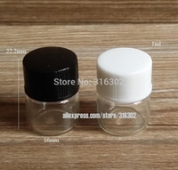 Wholesale 1ml Vials - 50 x 1ML Clear Transparent Sample Glass Vials Small Essential Oil Bottle with white Black Lids