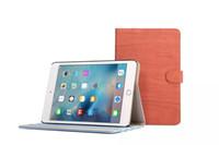 Wholesale Wood Ipad Case Wholesale - Retro Wood Grain Flip PU Leater Cover Kickstand Folding Folded Cell Phone Stand Case Holder for iPad mini 4