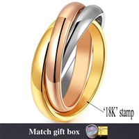 Wholesale Multi Gold Ring - Rolling Ring for Women 2015 New Jewelry Stainless Steel Rose Gold 18K Real Gold Plated Multi-tone Stacked Band Rings