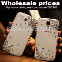 Wholesale Galaxy S2 Mini Case - Wholesale-Beautiful Diamond Rhinestones Flower case cover For Samsung Galaxy s2 s3 s4 s5 s6 Edge note2 note3 note4 mini NEO E5 E7 A3 A5 A7