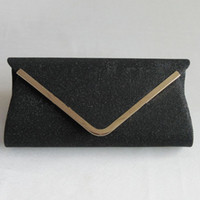 Wholesale Silver Clutch Bags For Prom - Wholesale-woman shoulder black silver lady fashion glitter V metal design envelope bag handbag clutch for evening party prom with chain