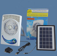 Wholesale Fan Tables - Portable Solar Powered Rechargeable Fan with 12 LEDS Beads LED Lighting Table Lamp Camping Fan 3 in 1 Led Solar Electric Fan with USB Cable