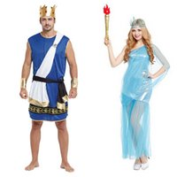 Donna Uomo Dea greca Lady Liberty Zeus Roman Soldiers Costume Cosplay Party Fancy Dress Ognissanti Carnevale