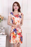 Wholesale Korea Summer Silk Dresses - Wholesale-Korea New Fashion Summer Milk Silk Dress Round Collar Short Sleeve Printing Sexy Middle-aged Dress Leisure Big yards Dress Q0985
