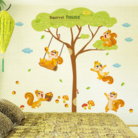 Wholesale Trees Lights Wall Decor - Squirrel House Wall Decal Sticker Squirrel Playing under the tree Wall Art Mural Kids Room Decor Animal Forest Wall Applique Poster