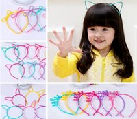 Wholesale Hair Accessories Combs Bands - Kids Headbands Cat Ears Bunny Ears Crown bowknot 4 designs plastic with short combs Headband for girls children hair accessories hair band