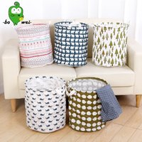 Wholesale Wholesale Canvas Coats - Cylindric Waterproof Laundry Hamper Coating Canvas Fabric Storage Basket Foldable High Capacity Clothes Baskets For Home 9yq B R
