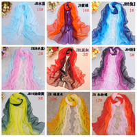 Wholesale Spring Color Scarves - Hot ! 10pcs 17 color Fashionable Spring And Autumn Long Chiffon Georgette Scarves Rabbit Blue, etc. Spell Color Gradual Change Color Shawl