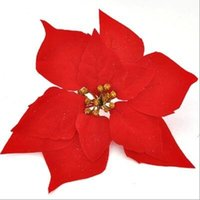 Wholesale Wholesale Silk Xmas Flowers - poinsettia Xmas decoration flowers Christmas poinsettia flower heads silk flowers wholesale festival decoratiion flowers free shipping SF010