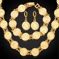 ouro chapeado jóia rainhas venda por atacado-Rainha Cabeça Do Vintage Moeda Colar Pulseira Brincos Set Mulheres Moda Jóias 18 K Ouro / Platinum Banhado A Perfeito Presente Acessórios U7 Jóias