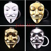 Wholesale woman vendetta masks resale online - cheap price V key chain keyring Movie V for Vendetta mask around the keychain pendant