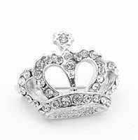 Wholesale Diamante Clear Rhinestone - 1 Inch Vintage Look Rhodium Silver Plating Clear Rhinestone Crystal Diamante Crown Pageant Gift Pins Brooch