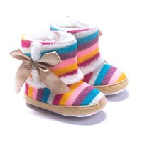 Wholesale Coral Baby Shoes - Baby Girls Boots Wool Winter Bebe Shoes Coral Fleece Baby First Walker Anti-Slip Rainbow 11-13CM