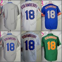 Wholesale Darryl Strawberry - Darryl Strawberry Jersey Vintage New York Jerseys Blue Green Grey Throwback