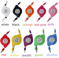 Wholesale Portable Usb Retractable - Micro USB Charger Cable Retractable Portable noodles data line Telescopic V8 Coiled Data Sync Phone Cables For Samsung 50up