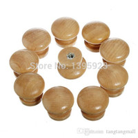 Wholesale 10pcs Pack Natural Wooden Cabinet Drawer Wardrobe Door Knob Pull Handle Hardware Plain A3