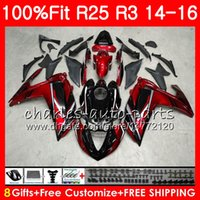 Wholesale yamaha 25 - Injection Wine red Body For YAMAHA YZF R 3 YZF-R3 YZF-R25 R25 14 15 16 Cowling 83NO10 R 3 YZFR3 YZFR25 R 25 R3 2014 2015 2016 Fairing Kit
