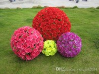 Wholesale Sell Rose Kissing Balls - HoT Selling 40CM Artificial Encryption Rose Silk Flower Kissing Balls Hanging Ball Christmas Ornaments Wedding Party Decorations Supplies