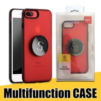 Wholesale hard back case packaging online - Metal Rotating Kickstand Case Hard PC Soft TPU with Ring Holder Back Cover for iPhone X Plus with Retail Package