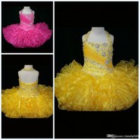 vestidos de alto brillo amarillo al por mayor-Pink Yellow Organza Halter Backless Little Flower Girl Dresses Lace-Up Back Little Rosie Ruffles Glitz Toddler Vestidos de alta calidad para desfiles