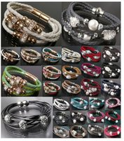 Wholesale Disco Set Prices - 2016 fashion bracelets New Shamballa PU Braided Leather Bracelet CZ Disco Crystal Bead infinity Bracelet Bangle jewelry wholesale price