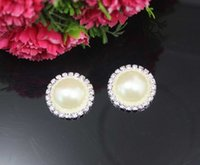 Wholesale 26mm Metal Rhinestone Buttons - New Arrival 100pcs lot 26mm Ivory Round Metal Rhinestone Button With Pearl Center Wedding Embellishments DIY Accessory Factory Price