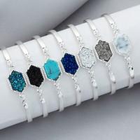 Wholesale Geometric Bracelets - Drusy Bracelets Geometric Resin Druzy Stone Bangle Luxury Women Jewelry Golden Silver Colors