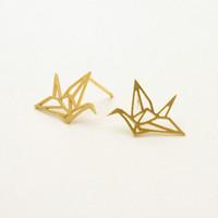 Wholesale Earring Gold 18k Baby - 10Pair- S011 Gold Silver Origami Crane Stud Earrings Baby Paper Crane Bird Earrings Stud Little Swallow Earrings Animal jewelry