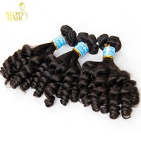 Wholesale Raw Unprocessed Extensions Wholesale - 3pcs Lot Unprocessed Raw Virgin Peruvian Aunty Funmi Human Hair Weave Bouncy Spiral Romance Loose Curls Remy Hair Extensions Double Wefts