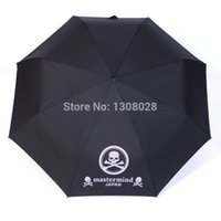 Wholesale Personalized Umbrellas - Wholesale-Japanese One Piece Skull Anime Mastermind Manual Three Folding Women Men Personalized Clear Rain Umbrellas For Sale