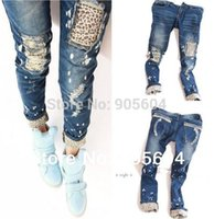 Wholesale Ladies Fashion Jeans Designer - 2015 Spring Trendy Fashion Designer Women's Casual Skinny Leopard Hole Slim Pencil Jeans Pants Ladies Denim Trousers Tights