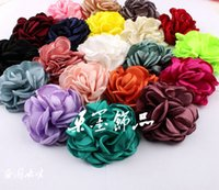 Wholesale Shabby Chic Flowers For Babies - Newborn Vintage Artificial Fabric Flowers For Baby Headbands Handmade Chic Shabby Hair Flowers For Hair Accessories 100% Fabric 20Colors 8CM