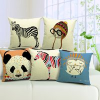 Wholesale Set Covers For Sofa Cushions - 5 styles Panda Owl Zebra Cushion Cover 45X45cm Linen Cotton For Wedding Decoration sofa couch car set relax