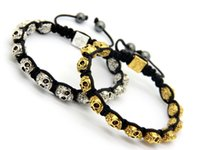 Wholesale Wholesale Gold Skull Bracelets - 2015 New Brand Exquisite Antique Gold and Silver Skull Shamballa Men's Bracelet Jewelry