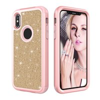 Shield Hybrid Bling Shinning Dual Layer Case Fashion Gradient 3 em 1 capa traseira à prova de choque para iphone X 8 7 6s 6 Plus Opp Bag