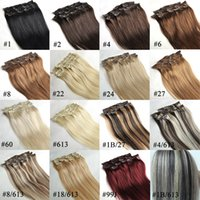 "clip au néon achat en gros de-2015 El Wire Flexible Neon 1pc + 24 ""Full Clip Clip In Gradeaaa + Extension de cheveux synthétiques Black Brown Blonde 7pcs / set 130g / ensemble Clips"