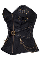 Wholesale Front Zip Bustier - Wholesale-New Arrival Black Zip Front Steampunk Corset with Thong LC5394 Top Selling Hardware Cool Bustier Overbust Brocade Top Corset