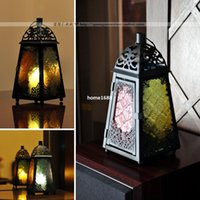 Wholesale Wrought Iron Garden Decorations - Morocco zakka Wrought Iron colored carved glass hurricane lantern lighthouse candle holders home garden bar church decorations