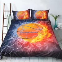 Polyester / Cotton Printed Home Fashion Design Basketball Reactive Printing Bedding  Set Twin Full Queen King
